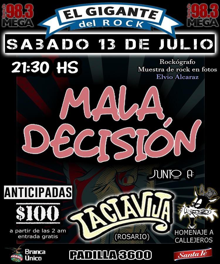 13/7 - Mala decisión + La Clavija - acústico callejero y Elvio Alcaraz