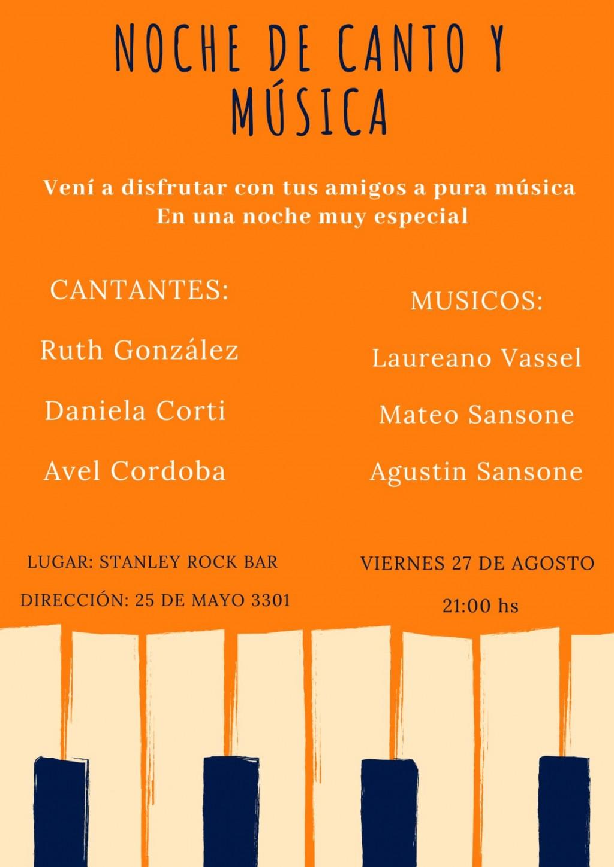 27/8 - Noche de canto y mùsica en STANLEY
