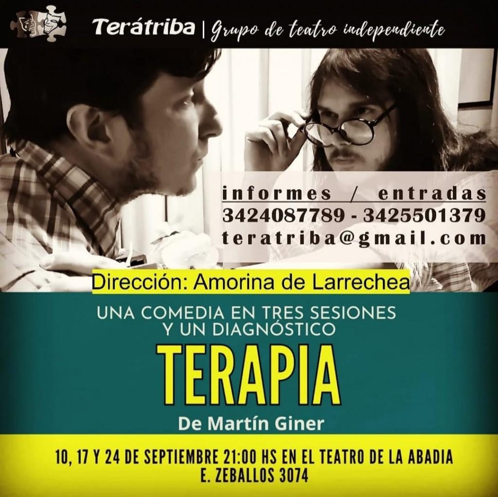 """10-17 y 24/9 -  """"Terapia (Una comedia en tres sesiones y un diagnóstico)"""" en LA ABADIA"""