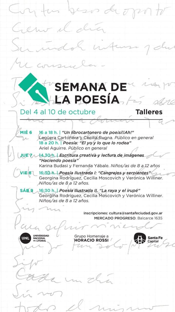 4 al 10/10 - Semana de la poesìa - TALLERES